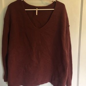 Free People oversized burgundy sweater sz S